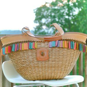 Coach Lily Straw Basket Tote Bag- Limited Edition